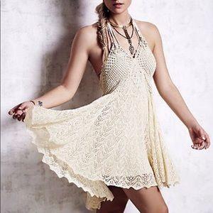Free People💕Crochet Lace Boho Hippie High Dress
